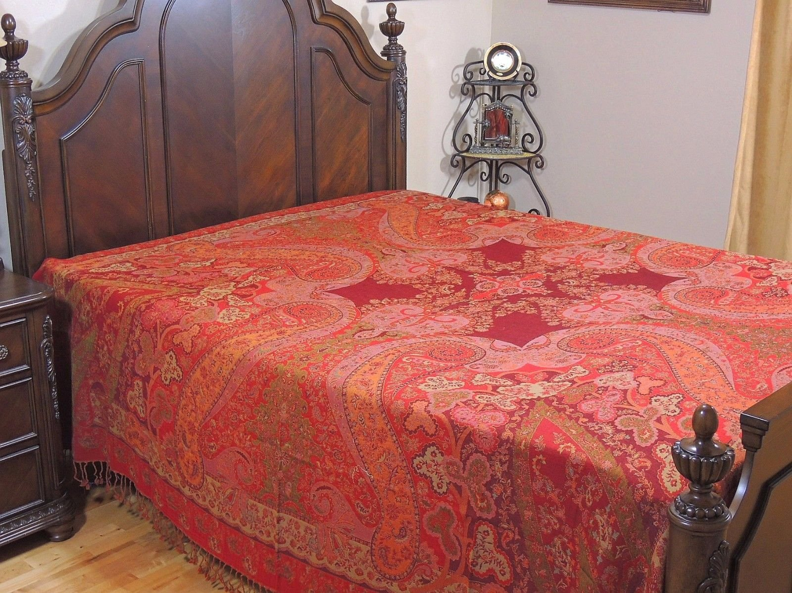 NovaHaat Maroon, Red, Pink and Tangerine 100% Wool Bedding - CHAMAN (Heavenly Garden) REVERSIBLE Indian Bedspread with Floral motifs from Kashmir - Queen 108 Inch x 90 Inch or Use as Blanket Throw