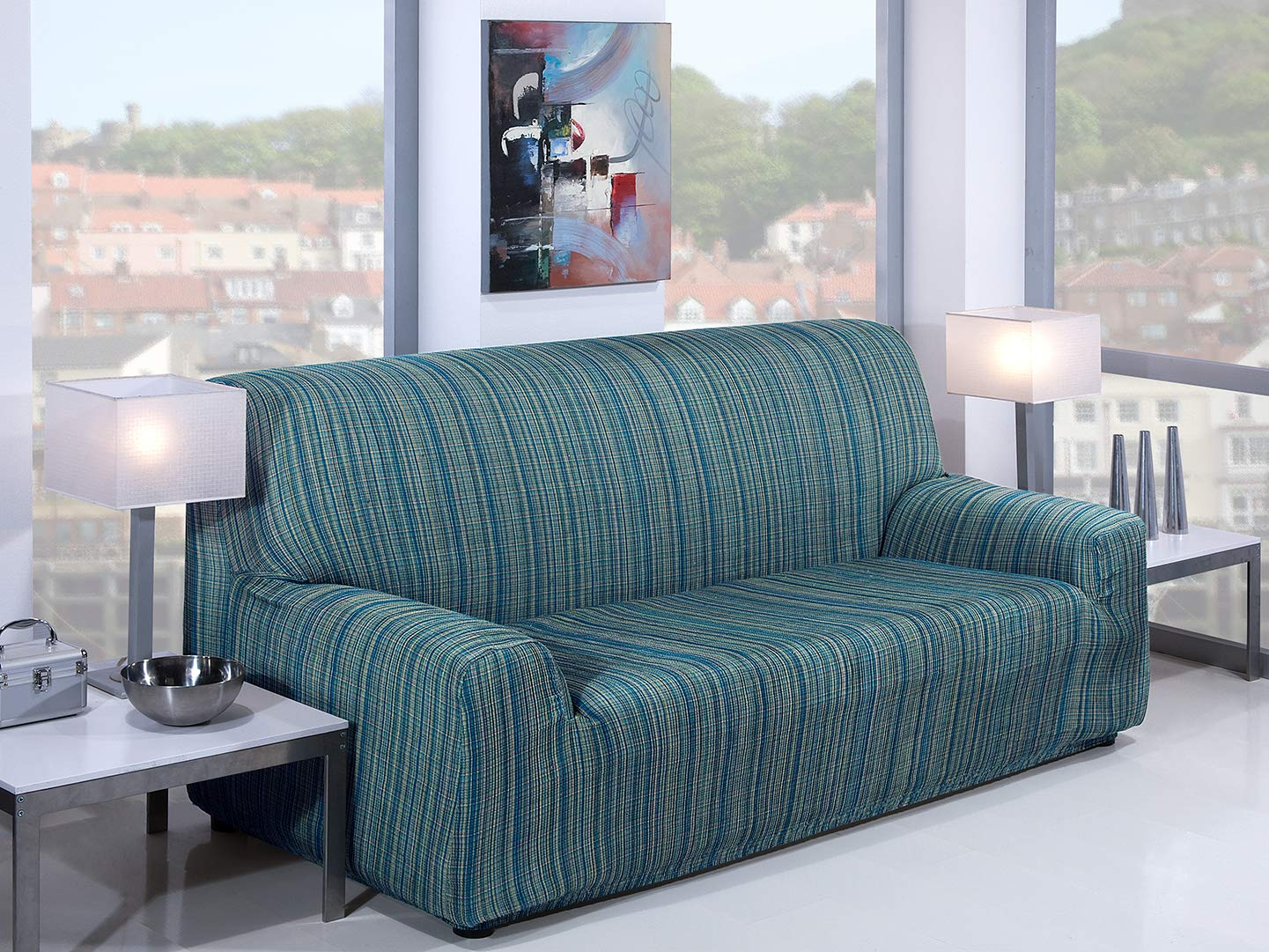 Martina Home Mejico - Funda de sofá elástica, Azul, 1 Plaza, 70 a 110 cm de ancho