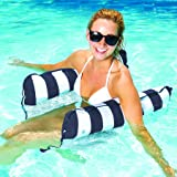Aqua Monterey 4-in-1 Multi-Purpose Inflatable Hammock (Saddle,Lounge Chair, Hammock, Drifter) Portable Pool Float, Navy