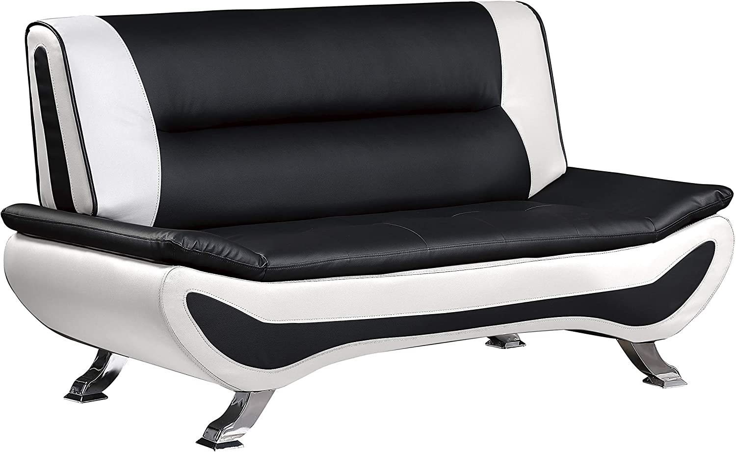 Homelegance Faux Leather Low-Profile Love Seat 63 Black//White