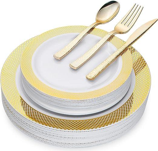 Amazon.com: Juego de vajilla desechable de plástico dorado ...