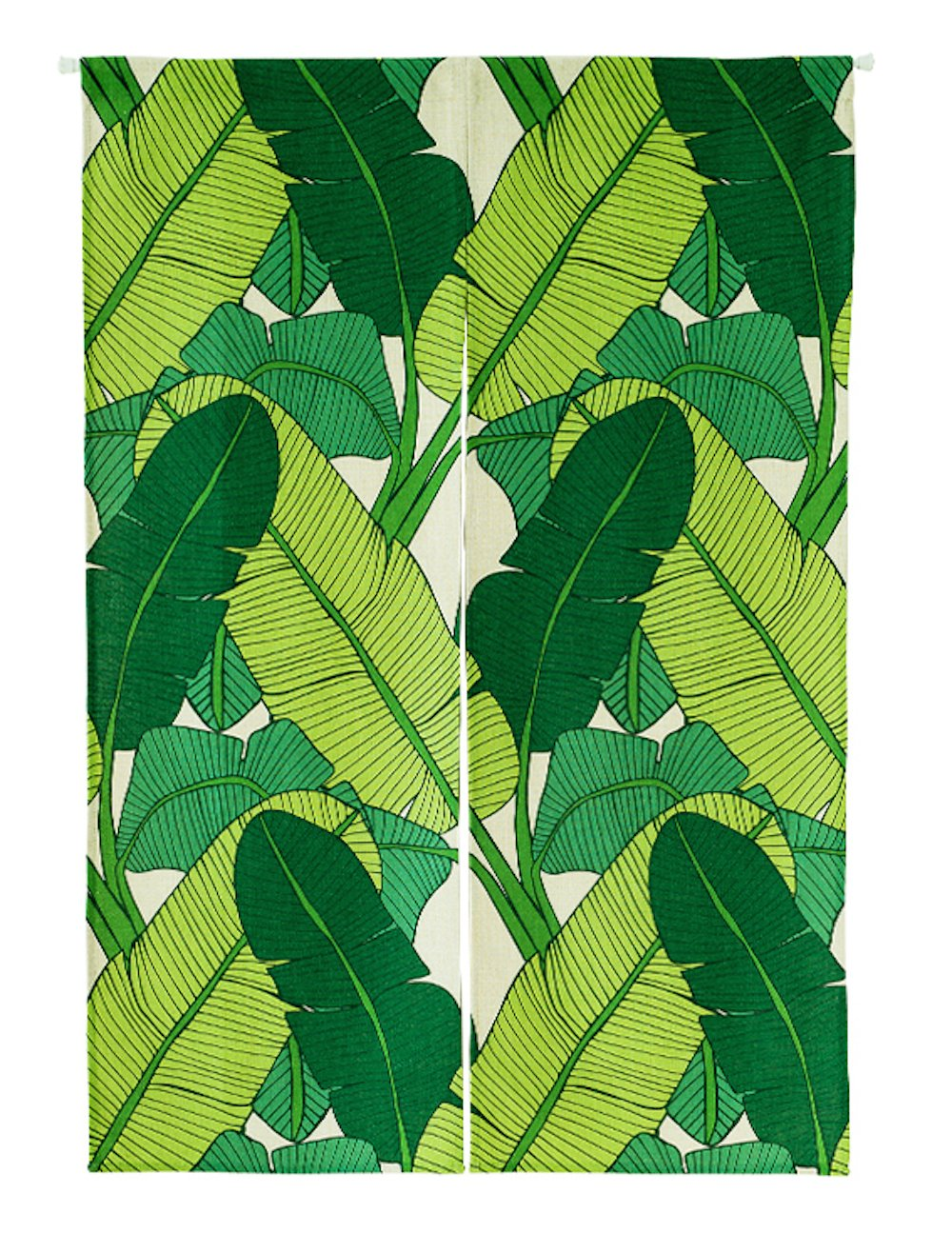 KARUILU home Japanese Noren Doorway Curtain Tapestry with Summer Mood 33.5'' Width x 47.2'' Long (Green Banana Leaves A)
