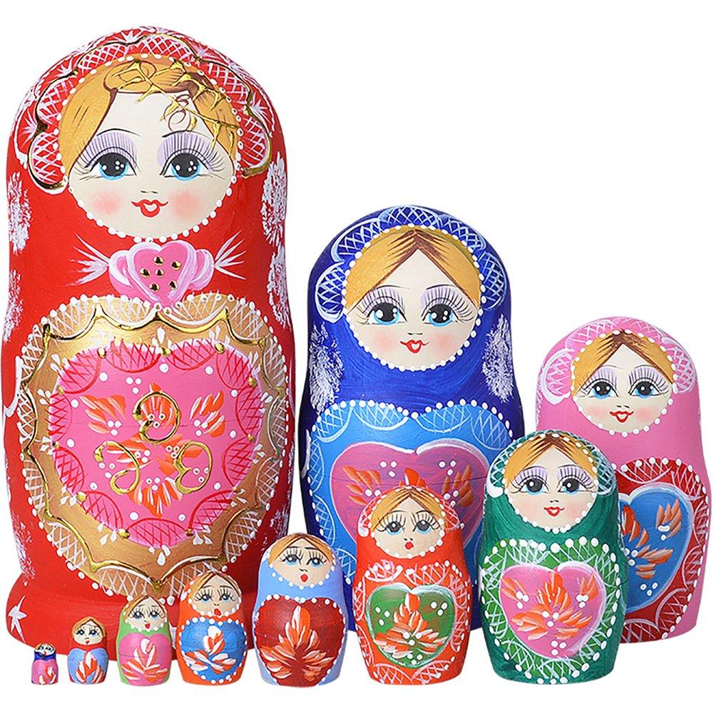 YAKELUS professionelle Matrjoschka-Marke 10Stücken Matroschka, Matruschka, Matrjoschka,Russian Nesting Dolls,10-tlg handgemacht Das Lindenholz Geschenk Spielzeug 1051