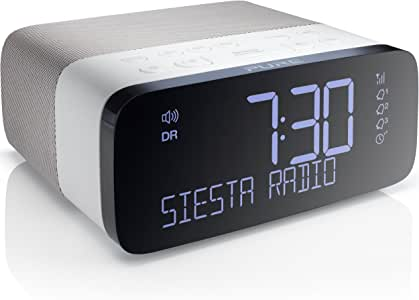 Pure Siesta Rise Digital DAB+ / FM Radio Alarm Clock with USB Mobile Charging, Graphite