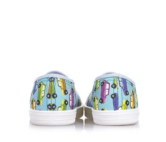 PÈPÈ- Zapato azul claro de tejido, made in Italy, insertos laerales elásticos, con estampados decorativos, Niño, Niños-32