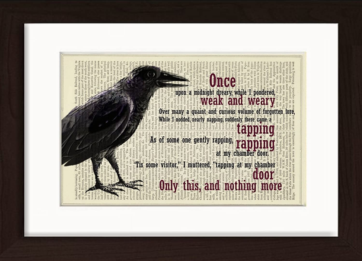 Edgar Allan Poe The Raven Mounted / Matted Ready To Frame Dictionary Art Print