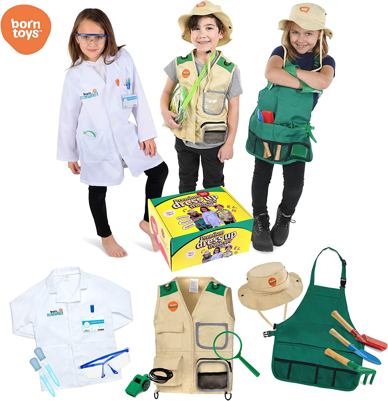 Born Toys Juego De Baúl De Vestir Lavable Premium Juego De Explorador, Juego De Jardín, Traje De Científico, Traje De Dr O Veterinario Y Kits para Niños