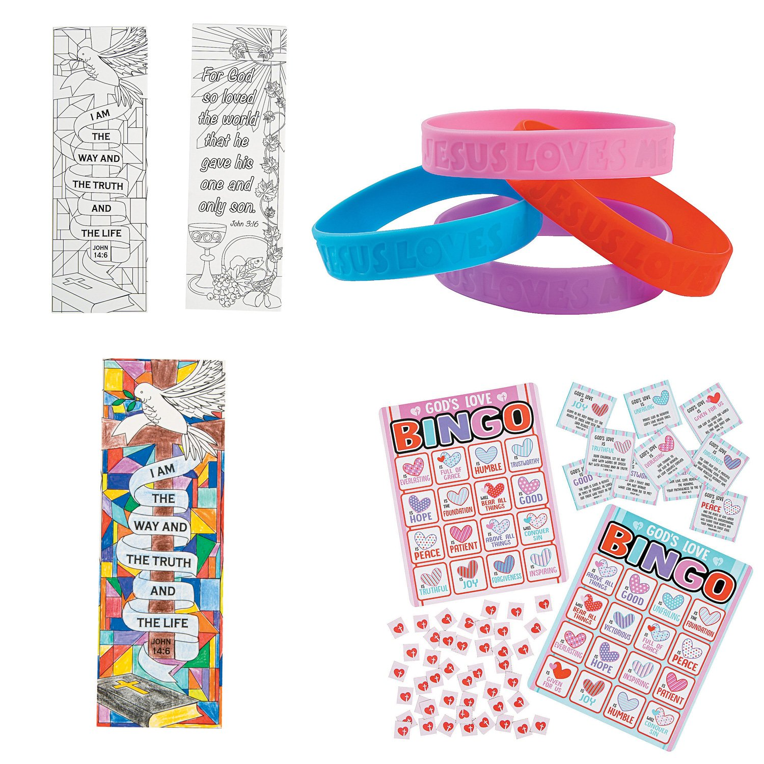 William & Douglas Religious Party Favor Bundle | Christian Gifts, Favors and Games | Jesus Loves Me Rubber Bracelets, Religious Love Bingo Game & Color Your Own Religious Bookmarks by William & Douglas