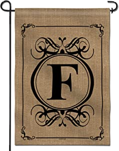 Anley Classic Monogram Letter F Garden Flag, Double Sided Family Last Name Initial Yard Flags - Personalized Welcome Home Decor - Weather Resistant & Double Stitched - 18 x 12.5 Inch