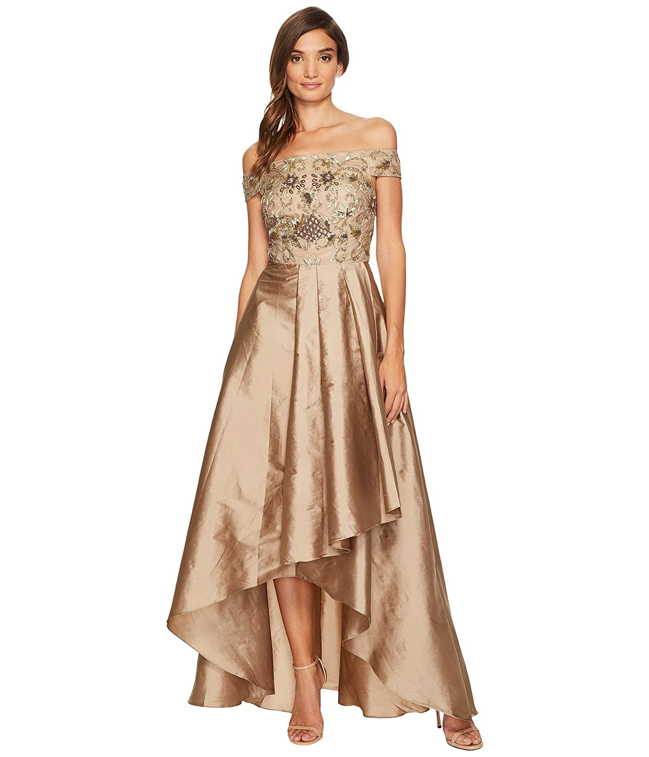 [アドリアナパペル] Adrianna Papell レディース Beaded Off the Shoulder Gown with High-Low Taffetta Skirt ドレス [並行輸入品] B075JJ298L 6|Antique Bronze Antique Bronze 6