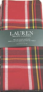 "Ralph Lauren Gretchen Tartan Plaid Napkins Red 20"" x 20"" 4 Pk."