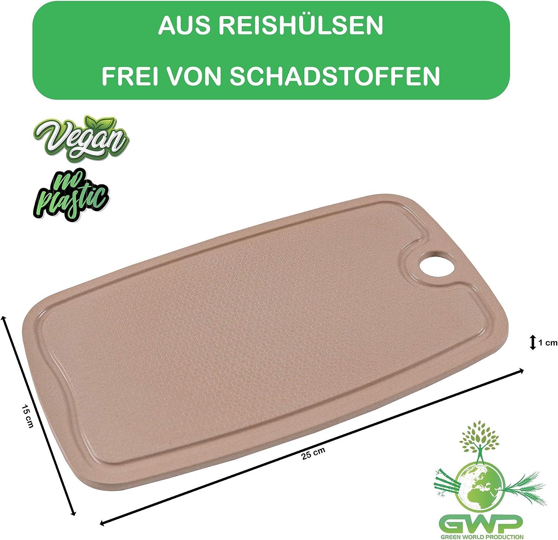 Green World Production I 100/% Biologisches Schneidebrett mit Saftrille Antibakterielle K/üchenbretter Schneidbretter Hackbretter Brotschneidebretter Servierbretter mit rutschfesten F/ü/ßen. 25x15