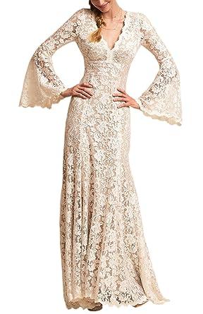 Wanhua Long Bell Sleeve V Neck Vintage Lace Wedding Dress Bridal ...