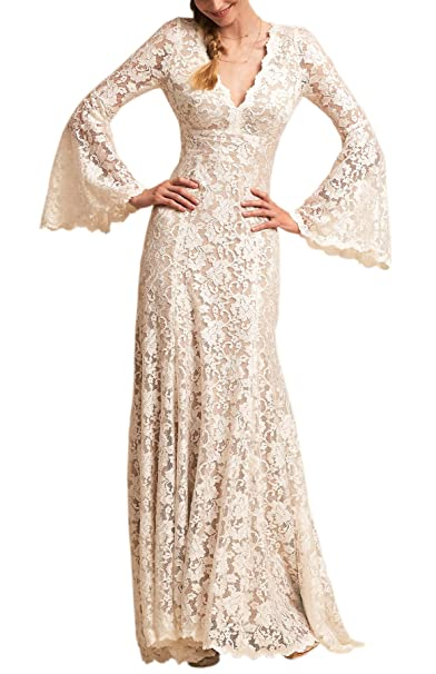Wanhua Long Bell Sleeve V Neck Vintage Lace Wedding Dress Bridal Gown
