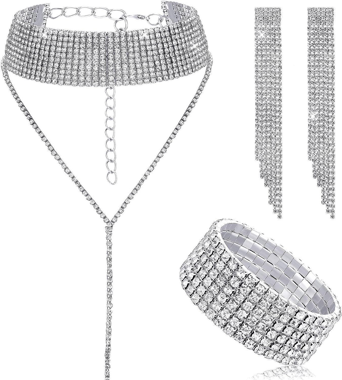 Hicarer Women Crystal Jewelry Set Bridal Wedding Rhinestone Choker Bracelet Dangle Earrings 81gDFK8i3pL