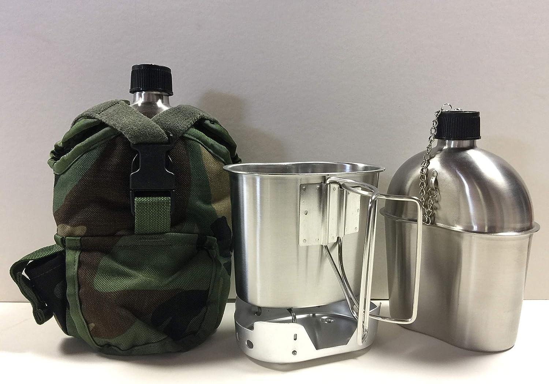 GAK Militar 1 qt. cantimplora de Acero Inoxidable con Taza, Estufa Plegable de Aluminio y Extractor GI Kit de Cobertura.