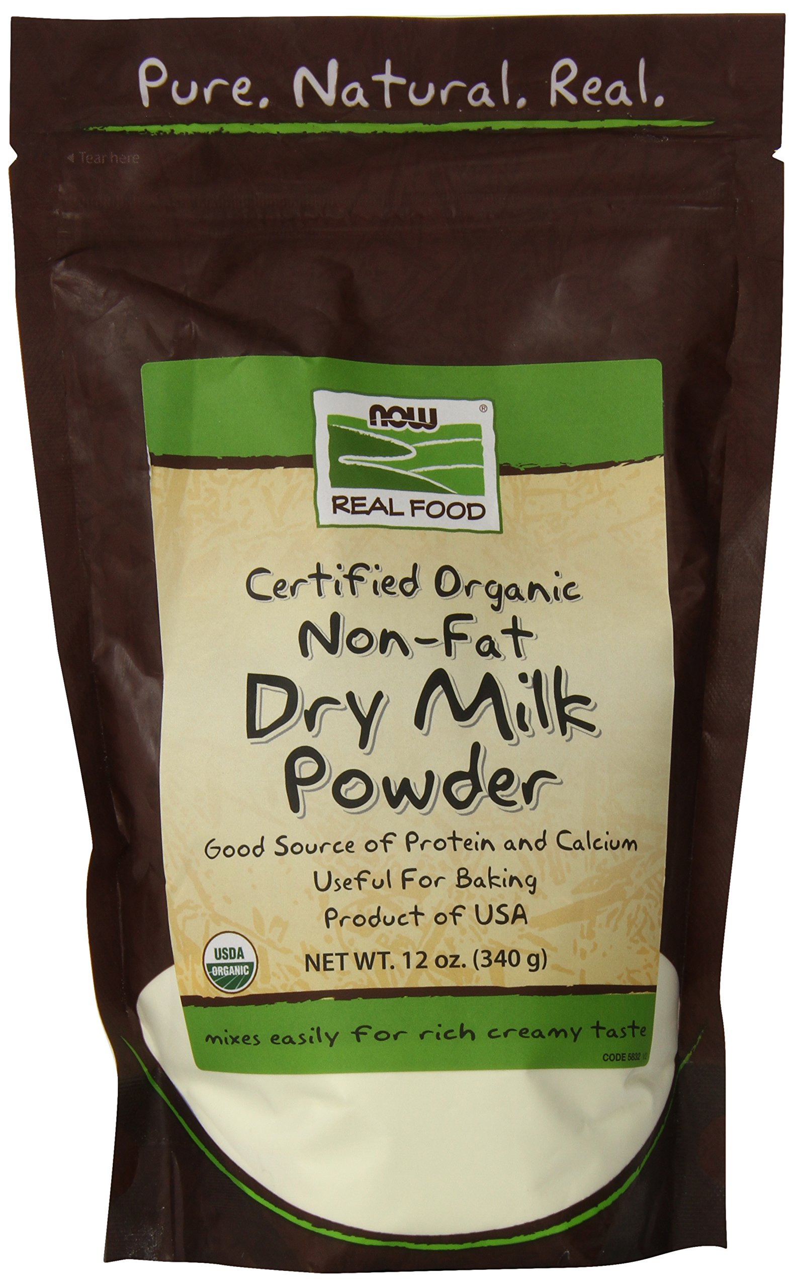 NOW Foods Organic Non-Fat Dry Milk Powder, 12-Ounce