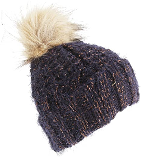91c50f61a6f Foxbury Womens Ladies Chunky Winter Hat With Faux Fur Bobble (One Size) (