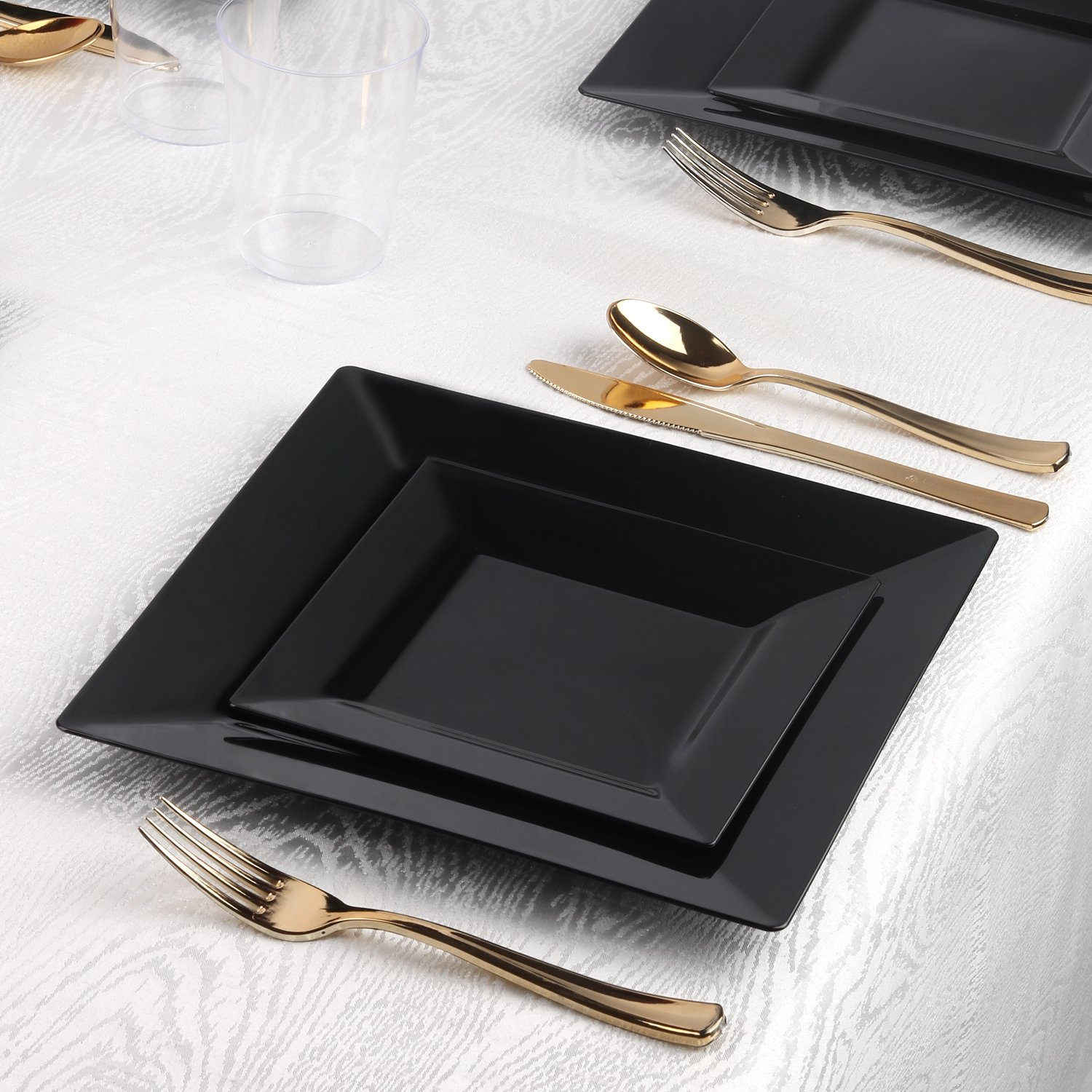 Kaya Collection - Square Black Disposable Plastic Dinnerware Party Package - 60 Person Package - Includes Dinner Plates, Salad/Dessert Plates, Gold Cutlery and Tumblers by Kaya Collection