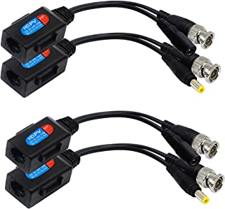 CGTime Balun HD Cat5 RJ45 vers BNC Vidéo Baluns émetteur-récepteur Passif avec connecteur d'alimentation pour 720P 1080P 3MP 4MP 5MP HD-CVI/TVI/AHD/CVBS/960H (2 Paires)