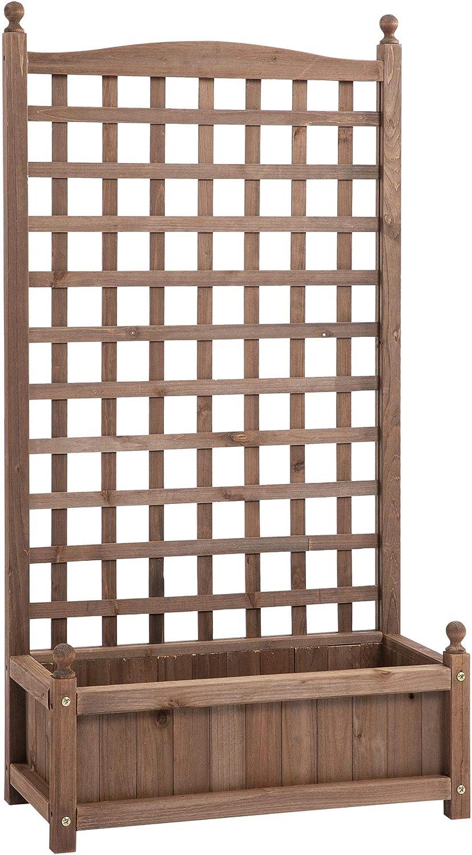 Outsunny Pflanzkasten Blumenst/änder Rankgitter Rankkasten Rosenbogen mit Leckage-L/öcher Garten Holz Dunkelbraun 64 x 28 x 120 cm