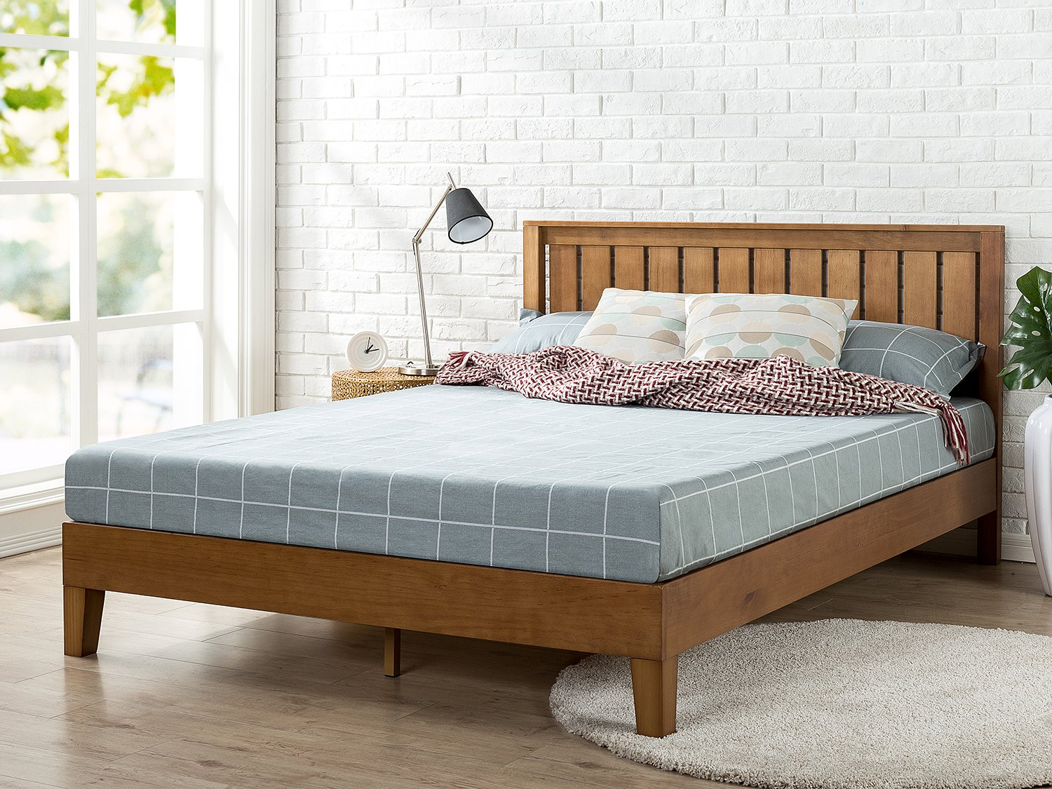 the latest 5686a 525f0 Zinus Alexis 12 Inch Deluxe Wood Platform Bed with Headboard / No Box  Spring Needed / Wood Slat Support / Rustic Pine Finish, Queen