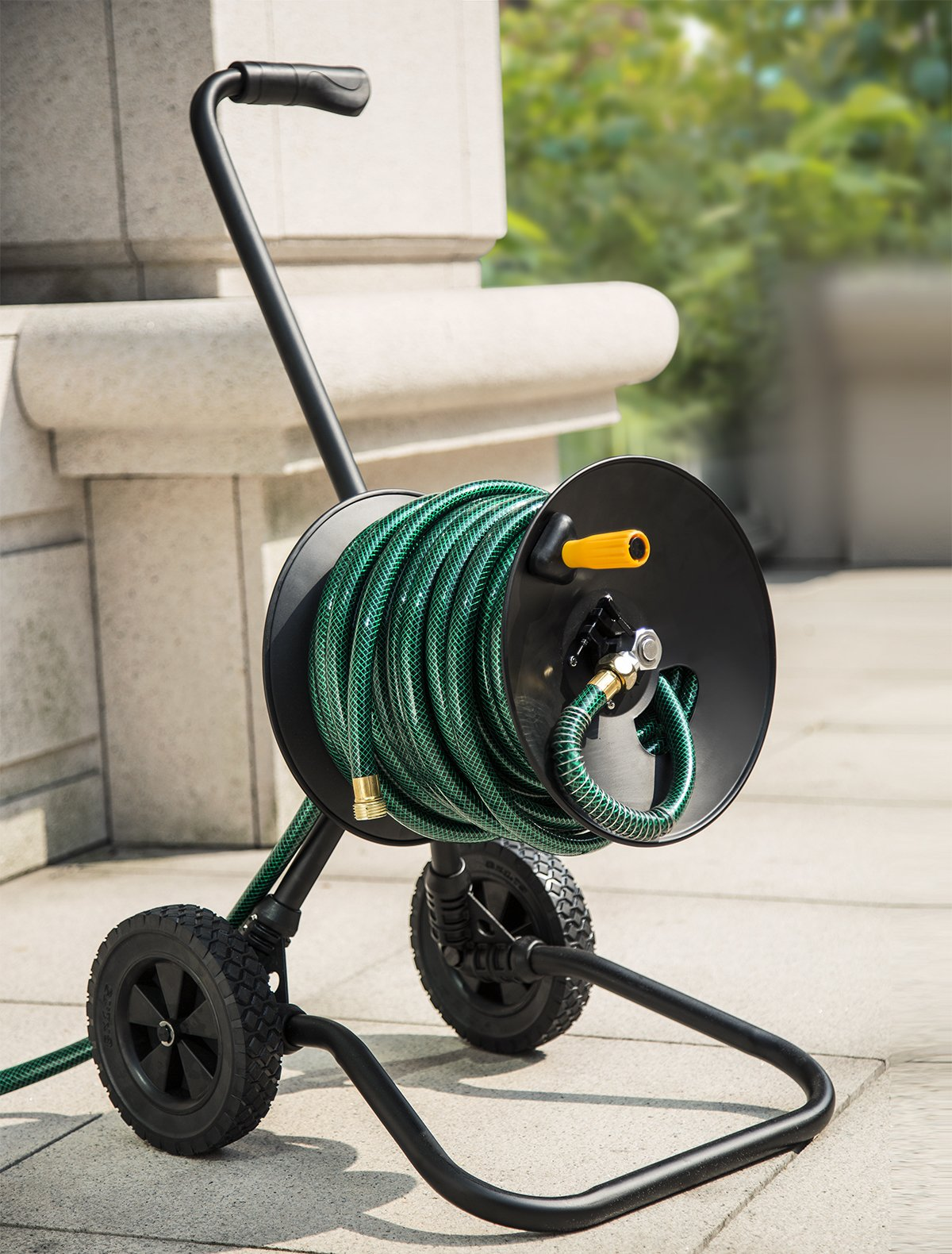AIM Metal Hose Reel Cart includes 100ft x 5/8'' hose + 4ft leading hose