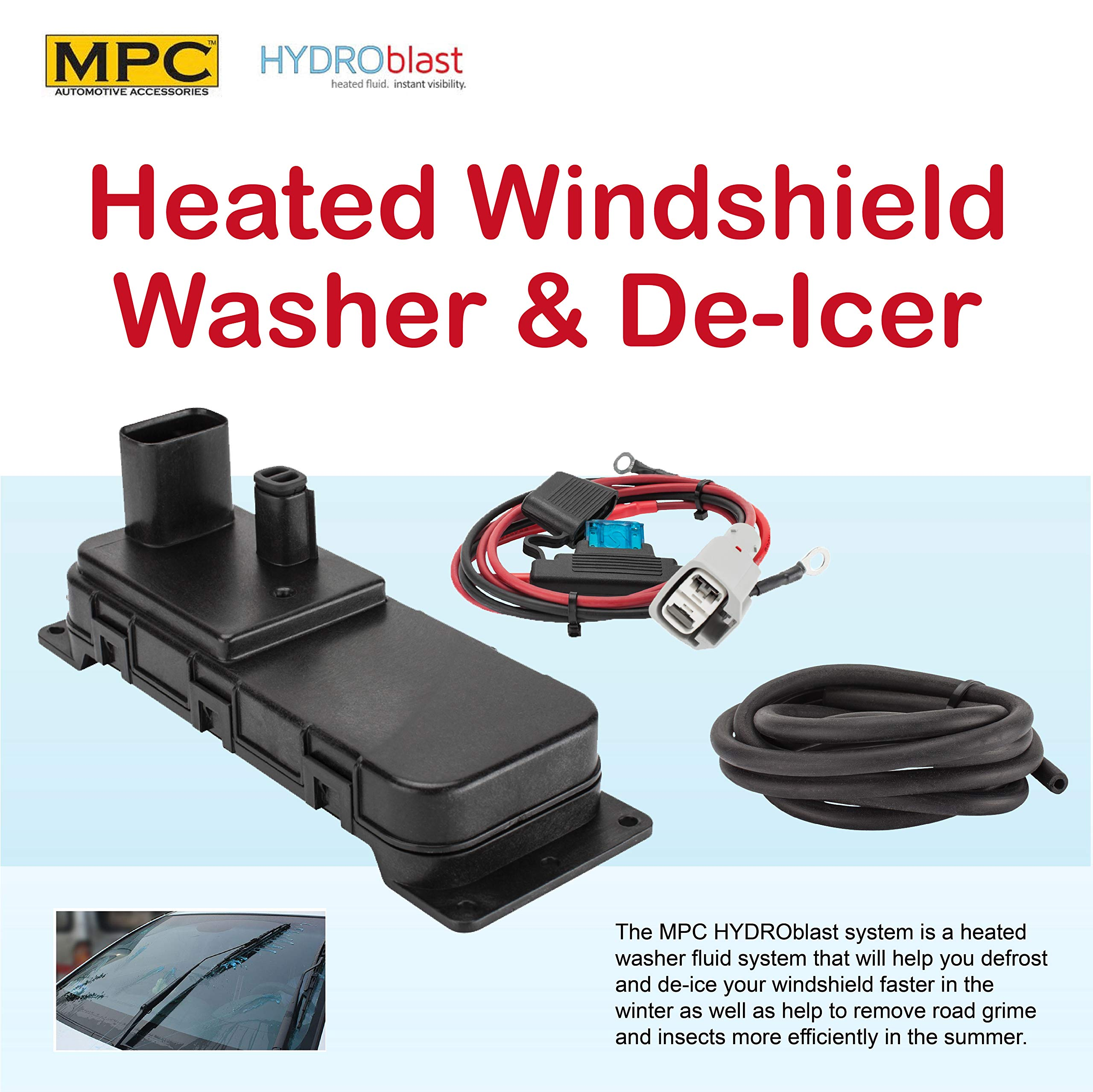 MPC Heats Your Windshield Washer Fluid Up to 140 Degrees - No More Scraping Ice Or Bugs Off Windshield - Complete System - Universal Fit - Easy to Install by MPC