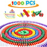 WOOD CITY Dominoes 1000pcs with Extra 20 Add-on Blocks, Colorful Dominoes Set, Dominoes Set for Kids Building, Racing…