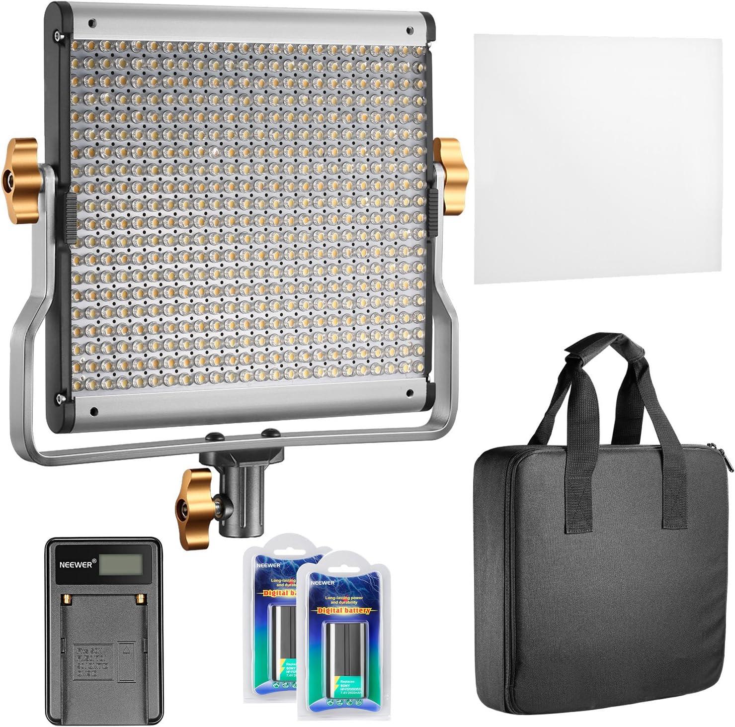 Neewer Regulable Bi-color 480 LED Video Luz CRI 96 + 3200-5600K con Soporte en U 2 Piezas de Batería Recargable de ion-litio y Cargador USB para Cámara DSLR foto Estudio Fotografía YouTube