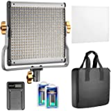 Neewer 480 LED Pannello Luce Dimmerabile Bicolore con Supporto Staffa-U, 2 Batterie a Litio Ricaricabili & Caricabatterie a USB per Fotografia in Studio, Registrazioni Video per Youtube