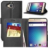 Blu VIVO 6 case, KuGi ® Blu VIVO 6 case - High quality PU Leather Kickstand Wallet Case for Blu VIVO 6 smartphone.(Black)