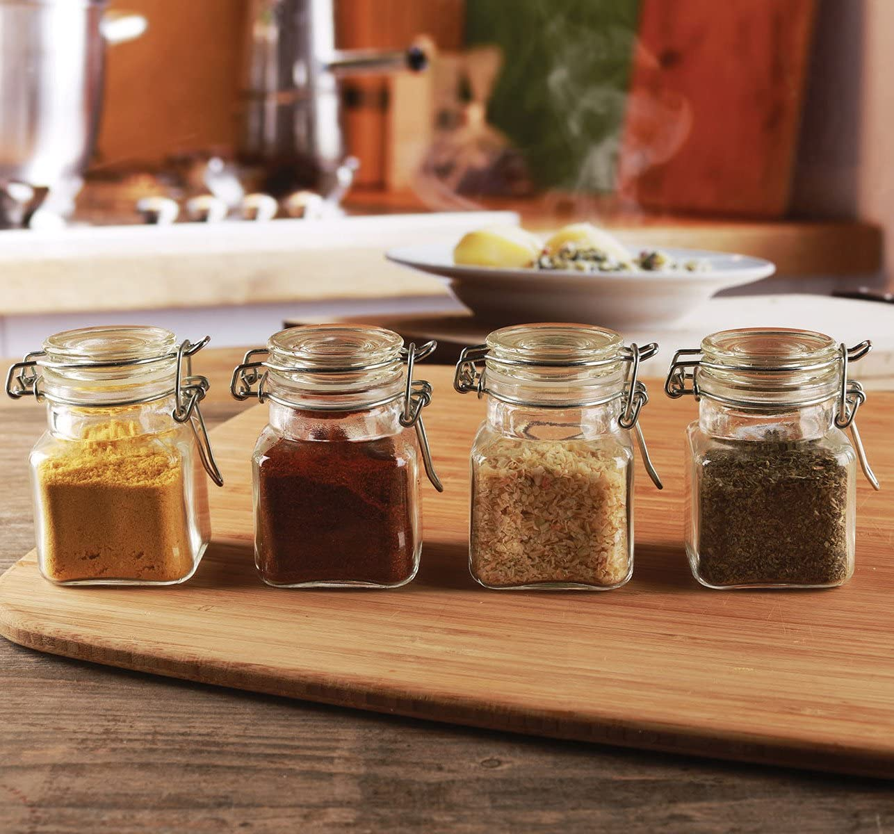 Circleware Glass Spice Jar with Swing Top Hermetic Airtight Locking Lid Set of 4, Kitchen Food Preserving Storage Containers for Coffee, Sugar, Tea, and Himalayan Seasoning, 3.76 oz, Clear