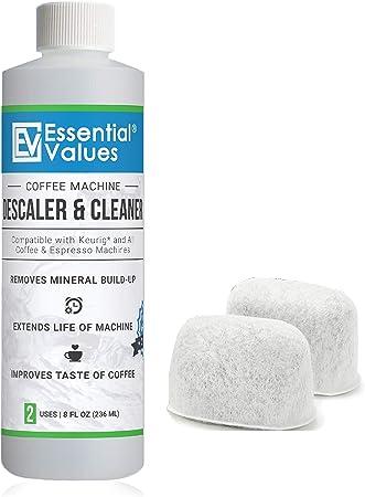 Essential Values Keurig descalcificador y Bono de 2 Paquetes de reemplazo keurig filtros - Limpiador de cafetera Descalcificador y 2 filtros Transparente: Amazon.es: Hogar