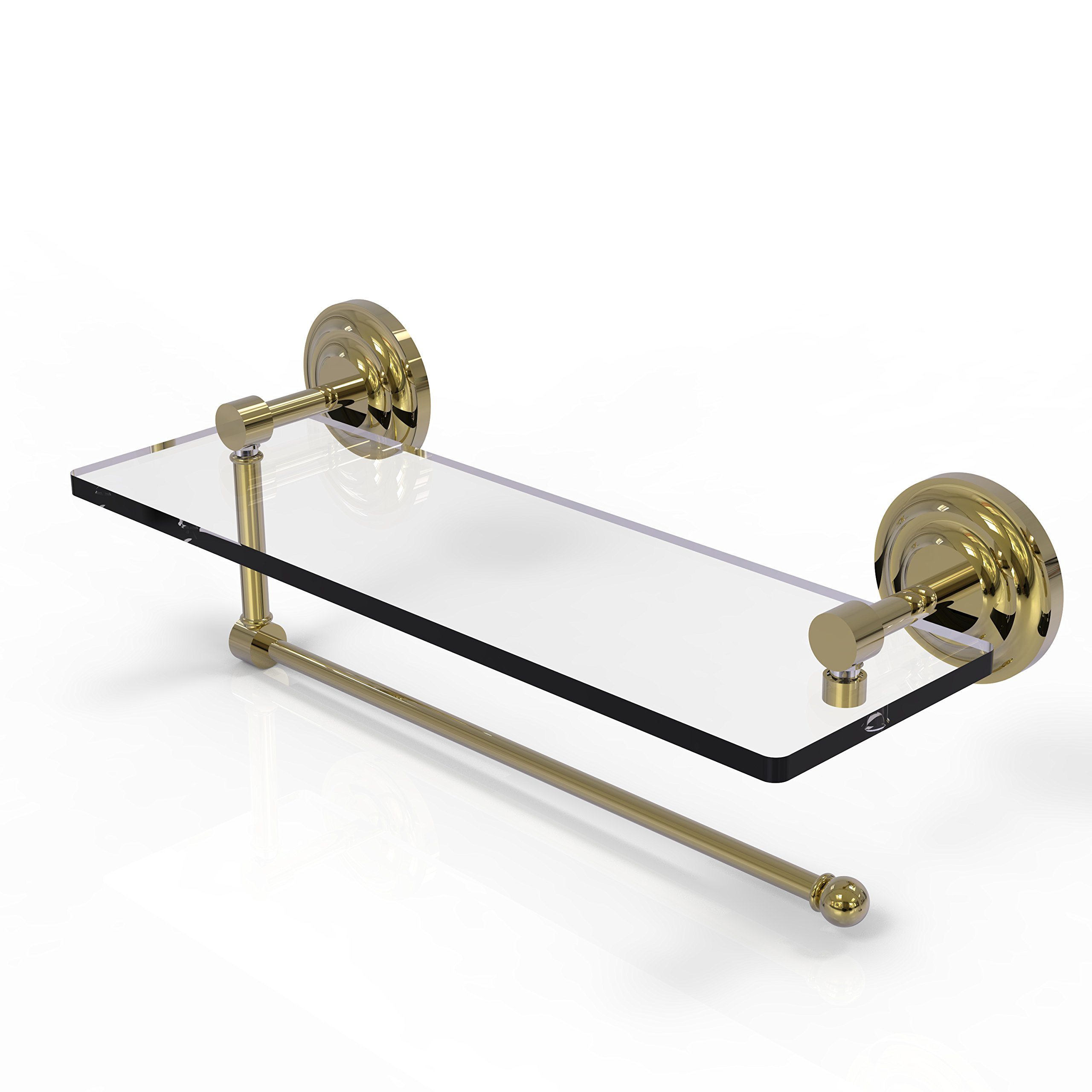 Allied Brass Prestige Que New Collection Paper Towel Holder with 16 Inch Glass Shelf PQN-1PT/16 - Unlacquered Brass