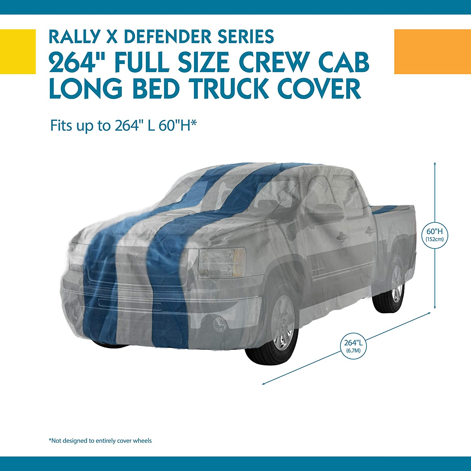 Duck Covers A4T197 Rally X Defender Grey with Navy Blue Rally Stripes 197L x 60W x 48H Pickup Truck Cover 1 Pack Fits Standard Cab Trucks up to 16 ft. 5 in. L