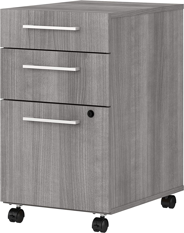Bush Business Furniture 400 Series 3 Drawer Mobile File Cabinet, Platinum Gray