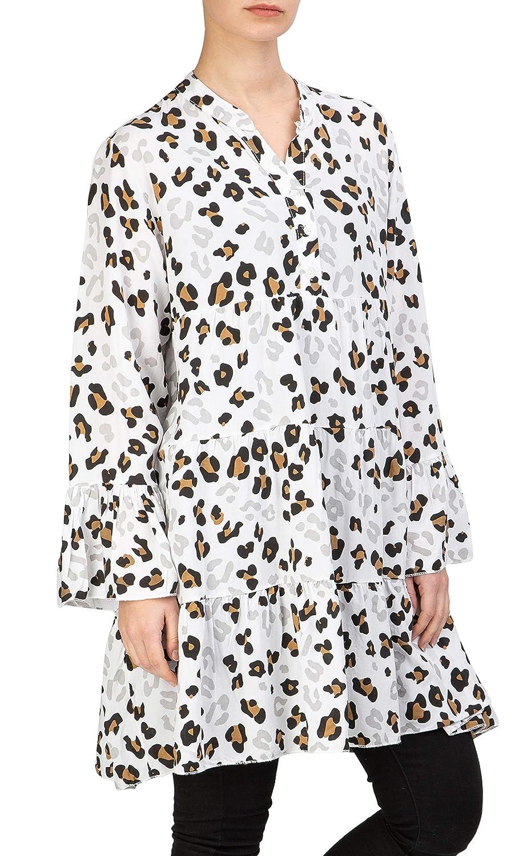 Chiffon Bluse Shirt Top Tunika Transparent Langarm Schulterfrei*Blau* 36 38 40