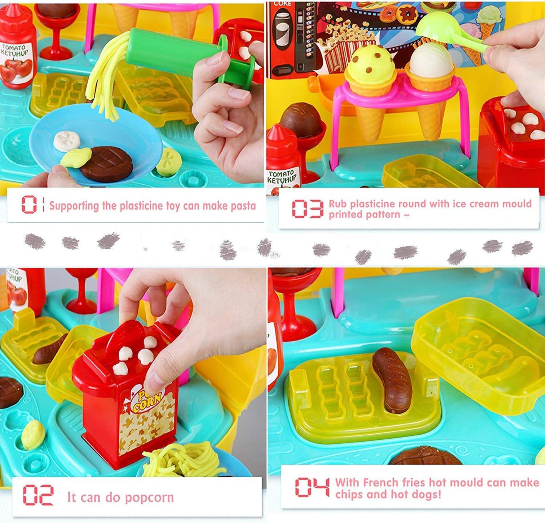 Deardeer Kids Play Dough Cinema Snack Bar Play Set 35 Pcs Pretend Play House Toy