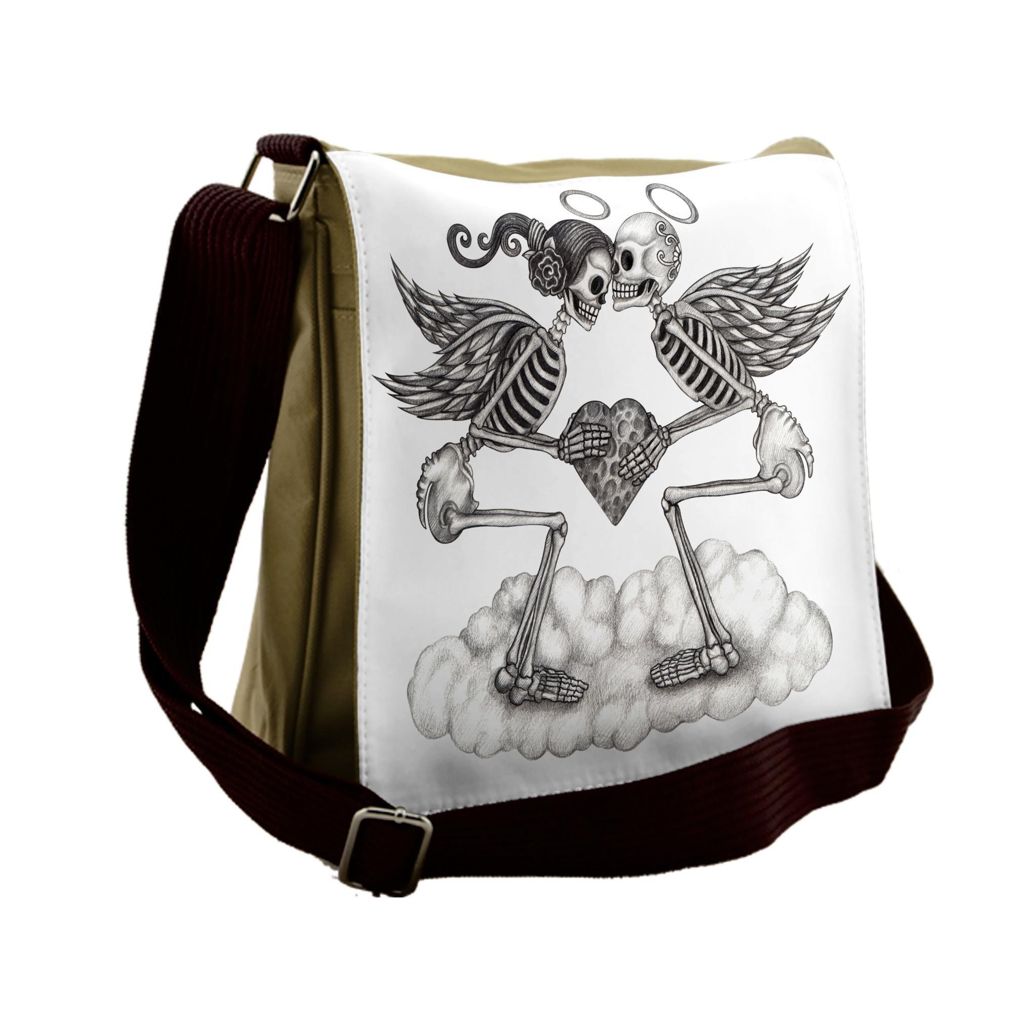 Lunarable Mexican Messenger Bag, Skull Cupids Wedding Theme, Unisex Cross-body