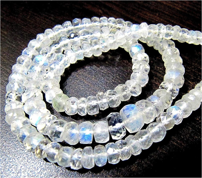 Natural genuino blanco Rainbow piedra lunar Rondelle Llanura cuentas/5–6mm azul Flashy arcoíris piedra lunar suave perlas/Strand 10pulgadas de largo.
