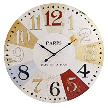 60cm Extra Large Round Wooden Wall Clock Vintage Retro Style