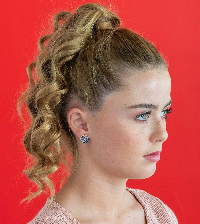 Silver-Tone Black and Multi-Color Confetti Glitter Glass Stud Earrings 1//2 Round
