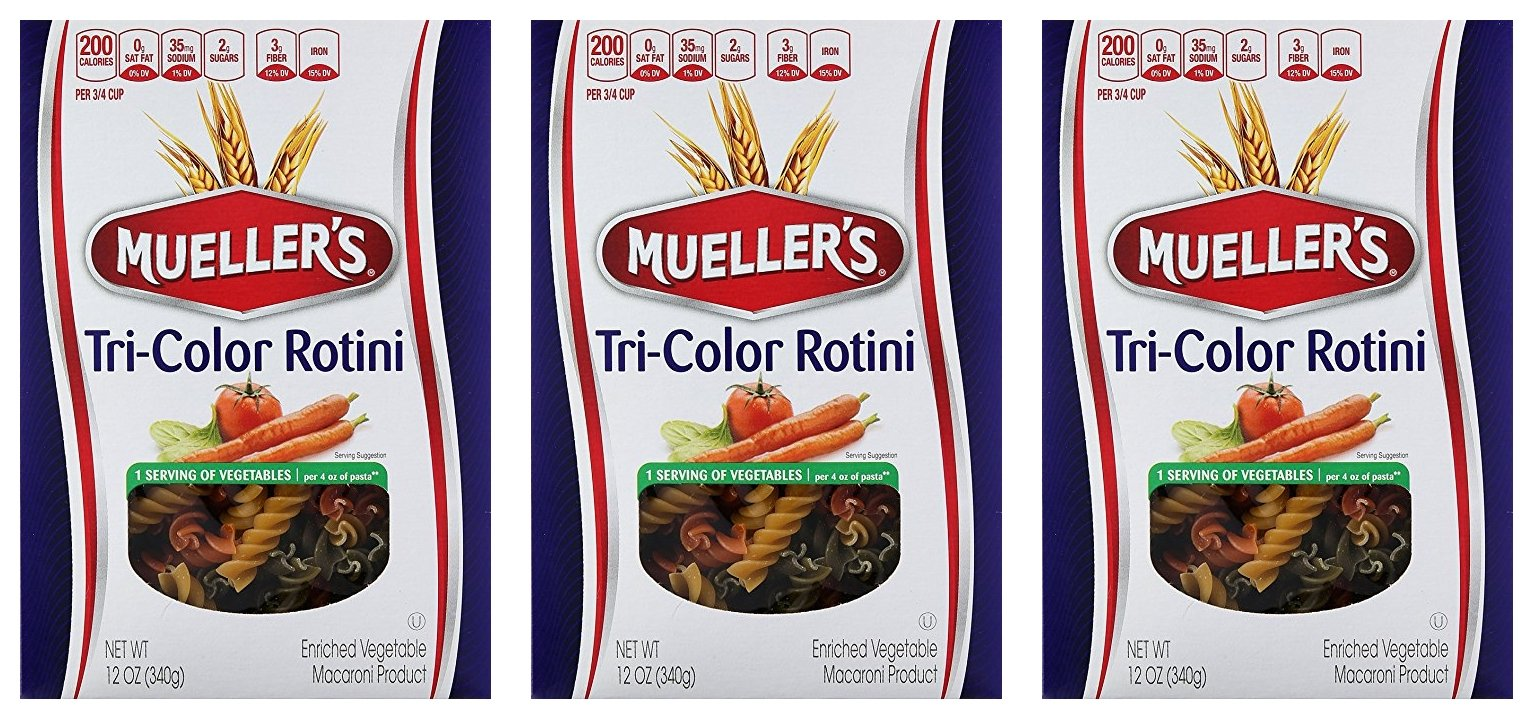 Muellers Tri-Color Rotini, 12 Ounce (Pack of 3)