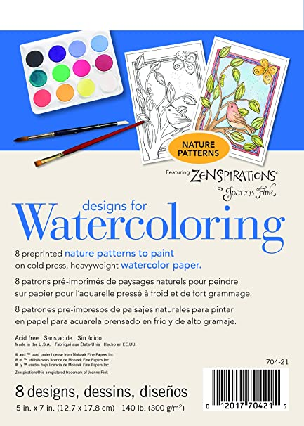 704-23-1 Designs for Watercoloring 140 lb. Cold Press Pad, Abstract, 8 Sheets Strathmore