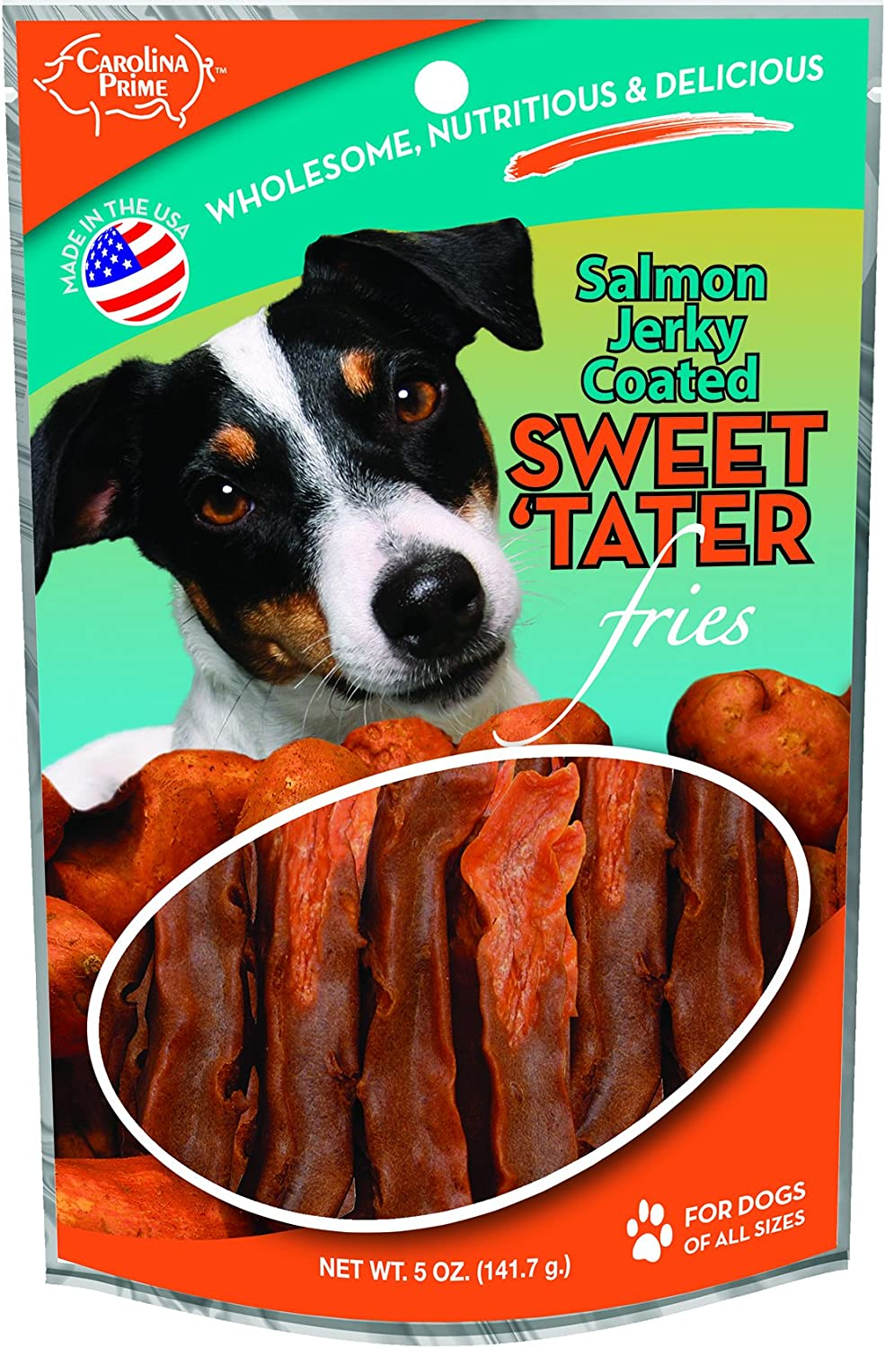 Carolina Prime Pet 45011 Salmon Coated Sweet Tater Fries Treat For Dogs ( 1 Pouch), One Size