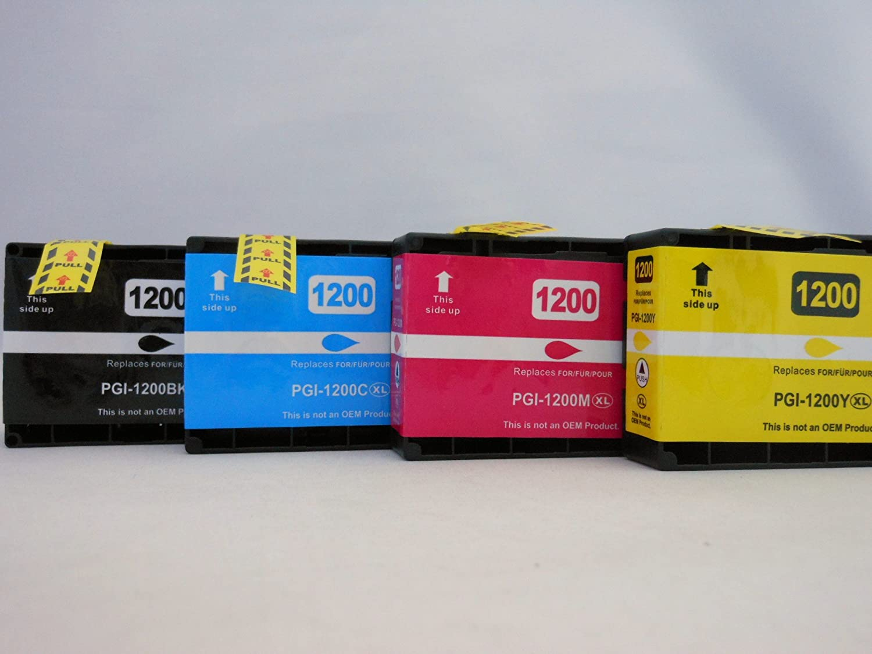 TSPセーバーReplcaement PGI - 1200ブラックシアンマゼンタイエローXL高Yieldインクカートリッジfor Canon MAXIFY mb2020 mb2120 mb2320 mb2720 4パック( pgi1200 – 4pk ) B076THGFDN