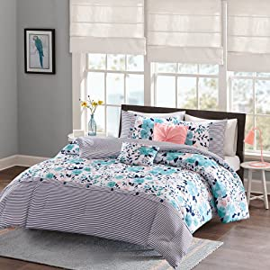 Intelligent Design Delle Comforter Set Full/Queen Size - Blue , Floral Stripes – 5 Piece Bed Sets – Ultra Soft Microfiber Teen Bedding For Girls Bedroom