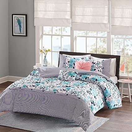 Intelligent Design Delle Comforter Set Full/Queen Size   Blue, Floral  Stripes U2013 5