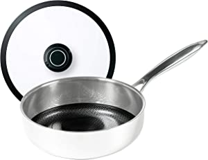 Black Cube Frieling Hybrid Stainless/Nonstick Cookware Saute Pan with Lid, 11-Inch Diameter, Silver
